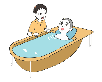 高齢男性の入浴支援 男性介護士