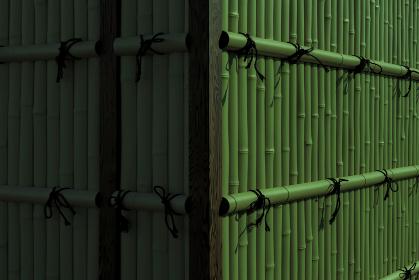 緑色の竹垣の角 3308r