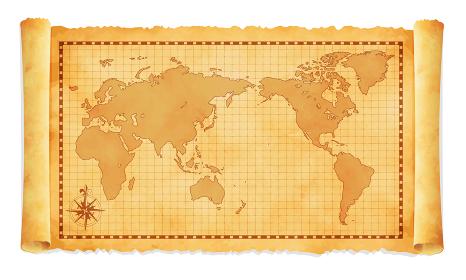 色褪せて丸まった古地図イラスト / 世界地図