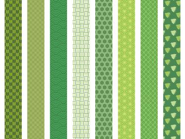 和柄模様 帯 緑