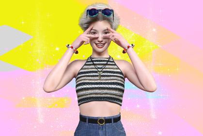 シルバーでショートヘアのサングラスを頭に乗せたボーイッシュな女の子が目元に指を添えたポップなポーズ