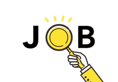 JOBの文字と虫眼鏡のイラスト、仕事探しのイメージ、黄色と黒のイラスト、ベクターイラストレーション