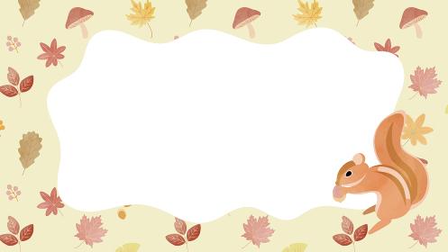 シマリスと秋の森のフレーム