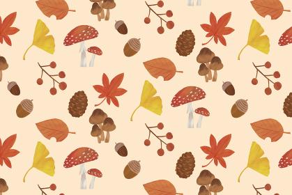 秋 背景 イラスト パターン 紅葉 イチョウ どんぐり 松ぼっくり きのこ 葉っぱ 白背景