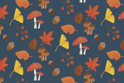 秋 背景 イラスト パターン紅葉 イチョウ どんぐり 松ぼっくり きのこ 葉っぱ ネイビー 紺
