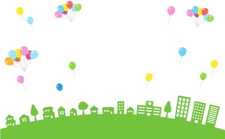 街並みとカラフルな風船の背景素材