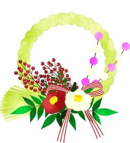 日本の伝統的な正月飾り おしゃれなしめ縄 輪飾りの水彩風イラスト