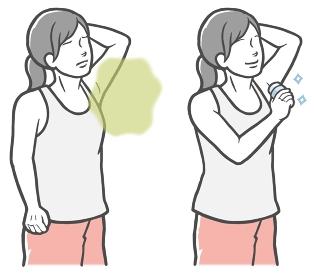 腋臭対策にのデオドラントスティックを使う若い女性