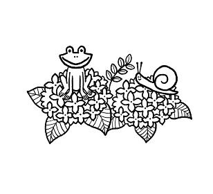 紫陽花とカエルとカタツムリの線画イラスト