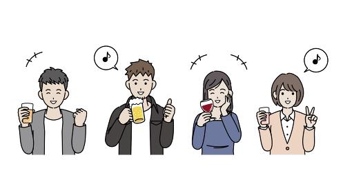 飲み会をする若い男女 打ち上げ オフ会 忘年会 上半身 イラスト素材