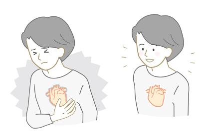 不健康な心臓、健康な心臓の人