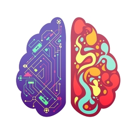 Right Left Brain Symbolic Colorful Image . Left and right human brain cerebral hemispheres pictorial symbolic colorful figure with flowchart and activity zones vector illustration