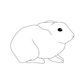ウサギ おすわり 線画