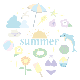 夏のアイテムのアイコンセットのイラスト