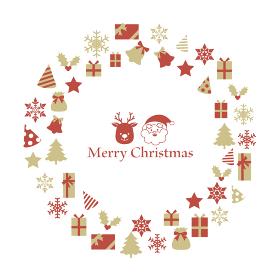 サンタとトナカイを囲むクリスマスのリース型フレーム ゴールドと赤