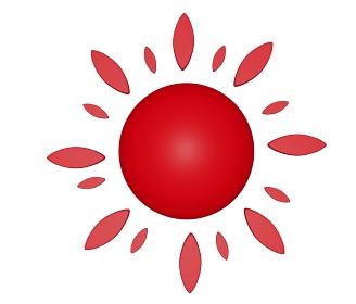 可愛いコミカルな赤色の花形太陽「3D」