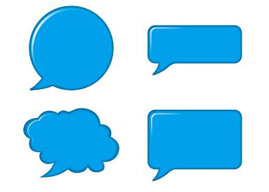 立体レリーフ状の漫画の吹き出し(青)|バルーン ベクターデータ Speech balloon