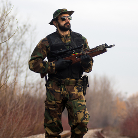 army soldier with crossbow