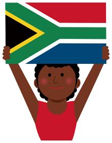 人種と国旗 / 国旗を掲げた若い女性 上半身イラスト/ 南アフリカ共和国