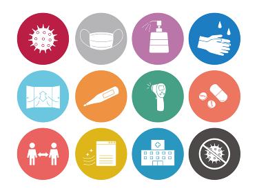 感染対策 予防 アイコンセット ボタンマーク