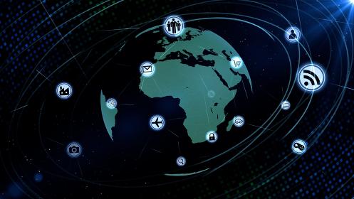 テクノロジー アイコン ネットワーク ワールド インターネット 地球 デジタル 3D イラスト