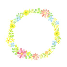 水彩で描いた草花の円フレーム