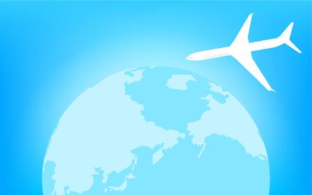 青く光る地球(北半球)と飛行機