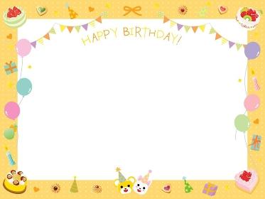 ケーキやフラッグや風船のかわいいお誕生日フレーム