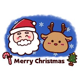 クリスマスのサンタとトナカイ