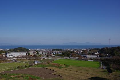 高台からの有明海の風景