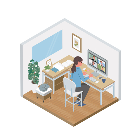 リモートワーク オンライン会議 アイソメトリック テレワーク 在宅勤務 イラスト