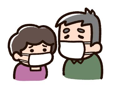 マスクをする老夫婦