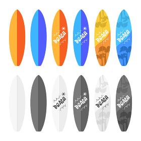 サーフボードのイラストセット