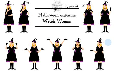ハロウィンの仮装、魔女姿の女性のポーズセット~話す・悩む・指さし・他~