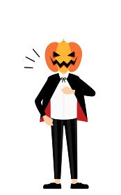 ハロウィンの仮装、カボチャのお化け姿の男の子が胸を叩いているお任せあれのポーズ