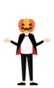 ハロウィンの仮装、カボチャのお化け姿の男の子が両腕を広げるポーズ