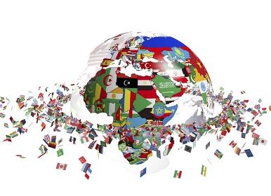 国旗で出来た地球と旗の輪