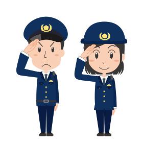 敬礼する男女の警察官