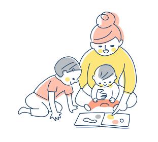 絵本を見ている親子
