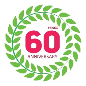 Template Logo 60 Anniversary in Laurel Wreath Vector Illustration EPS10. Template Logo 60 Anniversary in Laurel Wreath Vector Illustratio
