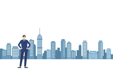 都市のシルエットとビジネスマン 人物フラットイラスト