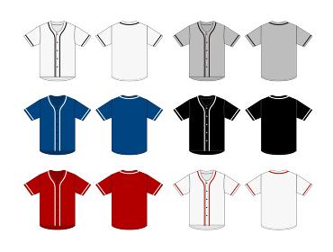 半袖 ベースボールシャツ・ユニフォーム テンプレートイラストセット