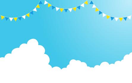 青空に雲とパガーランドの飾り
