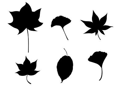 イラスト素材 紅葉 もみじ 秋 葉 セット シルエット パターン 和風 テクスチャ― ベクター