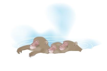 温泉に入る3匹のサル イラスト