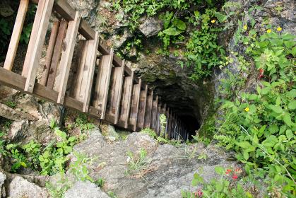 地上から地下洞窟のセノーテへと繋がる木のハシゴと狭い通路