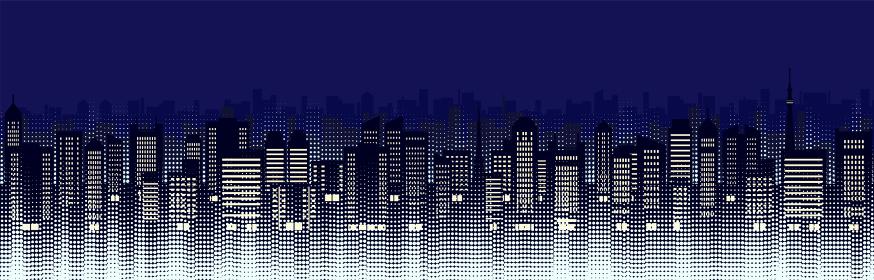 ビルのある都市風景のイラスト(夜)