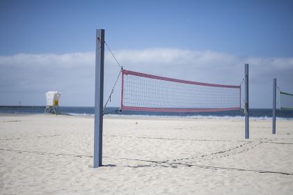 Beach volleyball courts on southern California beach