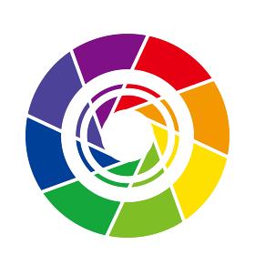 インフォグラフィックス|カメラのシャッター8分割の円とチャート図PDCAビジネスプロセス経営イラスト