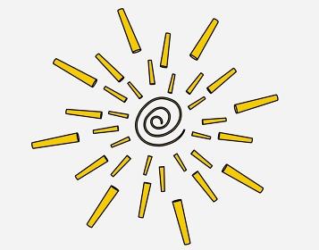 尖ったぐるぐるの黄色の太陽「黒淵あり」